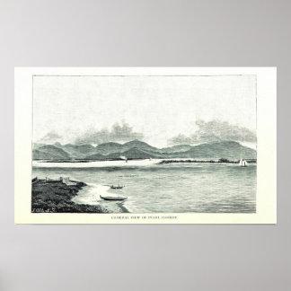 Pearl Harbor, Oahu, Hawaii 1890 Poster