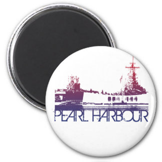 Pearl Harbour Skyline Design 2 Inch Round Magnet