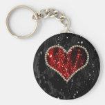Pearl Heart Basic Round Button Keychain