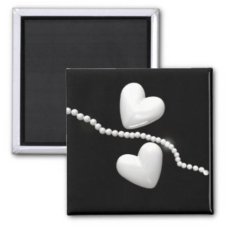 Pearl Hearts on Black 2 Inch Square Magnet