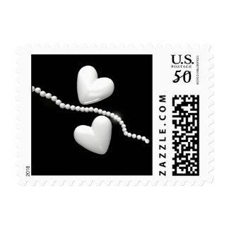 Pearl Hearts on Black Postage