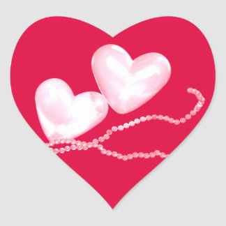 Pearl Hearts on Red Heart Stickers