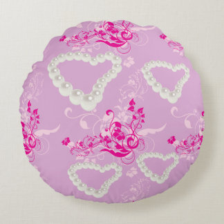 Pearl Hearts Pink Floral Swirl Mauve Throw Pillow