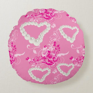 Pearl Hearts Pink Floral Swirl Round Throw Pillow