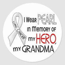 Pearl In Memory Of My Grandma Lung Cancer Classic Round Sticker