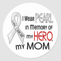 Pearl In Memory Of My Mom Lung Cancer Classic Round Sticker
