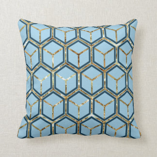 """Pearl"" Inlay Blue Honeycomb Pattern Reversible Throw Pillow"