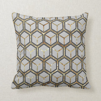 """Pearl"" Inlay Grey Honeycomb Pattern Reversible Throw Pillow"