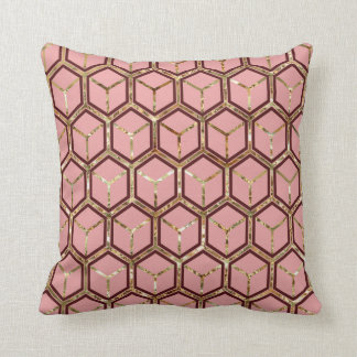 """Pearl"" Inlay Red Honeycomb Pattern Reversible Throw Pillow"
