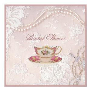 pearl lace bridal Tea Party Invitation 5.25