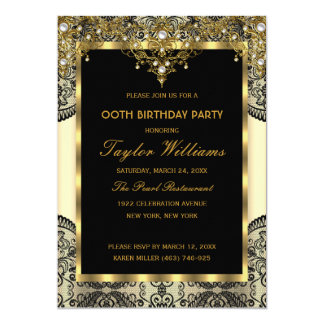 Pearl Lace Gold Cream Glamour Birthday Party 5x7 Paper Invitation Card