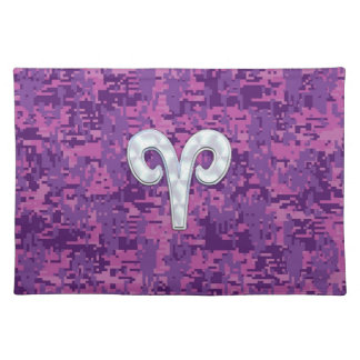 Pearl Like Aries Symbol on Pink Digital Camo Cloth Placemat