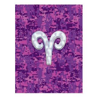 Pearl Like Aries Symbol on Pink Digital Camo Postcard