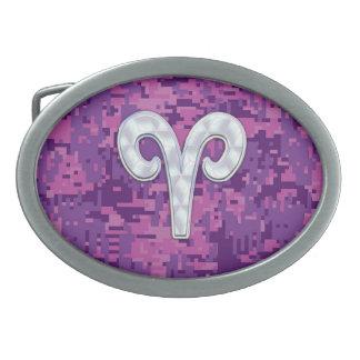 Pearl Like Aries Zodiac Sign on Digital Camo Oval Belt Buckles