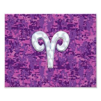 Pearl Like Aries Zodiac Sign on Digital Camo Photo Print