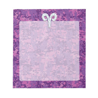 Pearl Like Aries Zodiac Symbol Digital Camouflage Notepad