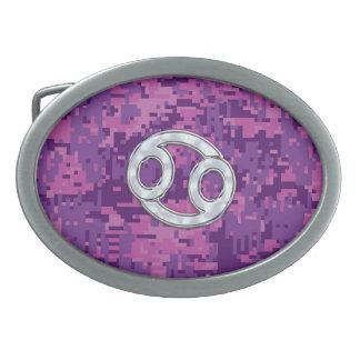Pearl Like Cancer Zodiac Sign on Digital Camo Belt Buckle