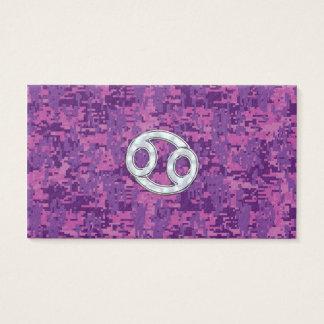 Pearl Like Cancer Zodiac Sign on Digital Camo Business Card