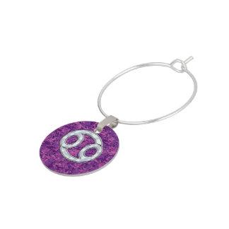 Pearl Like Cancer Zodiac Sign on Digital Camo Wine Glass Charms