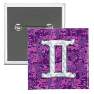 Pearl Like Gemini Zodiac Sign on Digital Camo 2 Inch Square Button