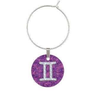Pearl Like Gemini Zodiac Symbol Digital Camouflage Wine Charm