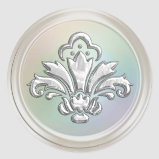Pearl Look and Silver Fleur de Lis Envelope Seal Classic Round Sticker