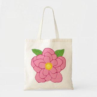 Pearl look flower tote bag
