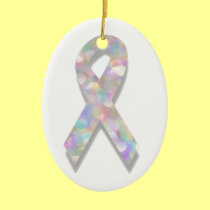 pearl lung cancer ribbon ceramic ornament