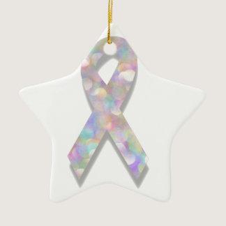 pearl lung cancer ribbon ceramic ornament