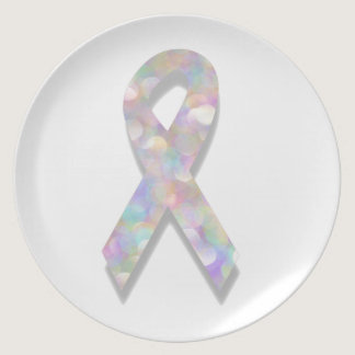 pearl lung cancer ribbon dinner plate