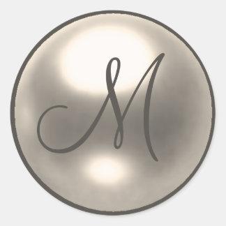 Pearl M monogram wedding seal Stickers