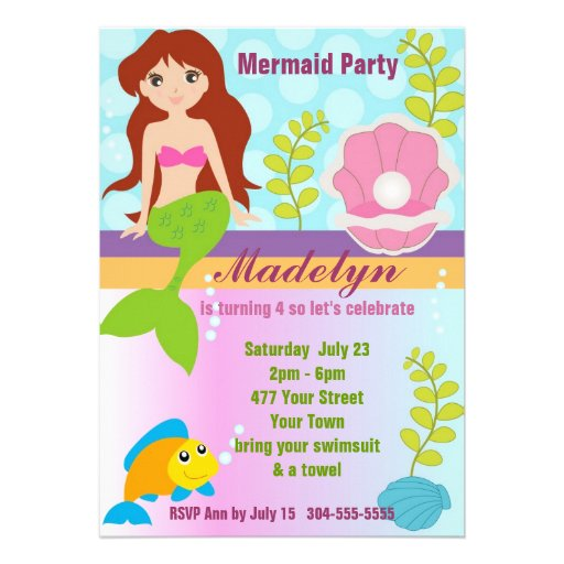 Pearl Mermaid Pool Party Custom Invite