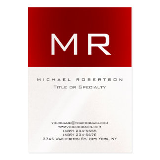 Pearl Monogram Red Striped Clean Business Card