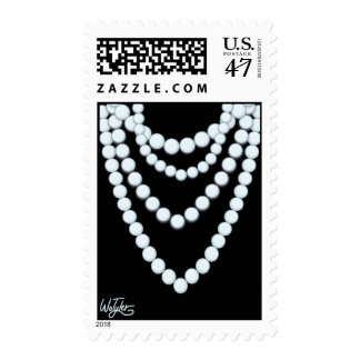 Pearl Necklace Black Postage Stamp