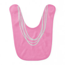 Pearl Necklaces on Pink Baby Bib
