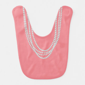 Pearl Necklaces on Reversible Coral Pink Baby Bib