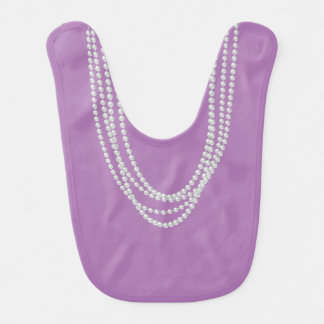 Pearl Necklaces on Reversible Pink Purple Baby Bib