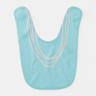 Pearl Necklaces on Reversible Turquoise Purple Bib
