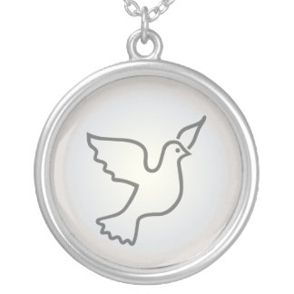 Pearl Peace Dove 3 Silver Plated Necklace