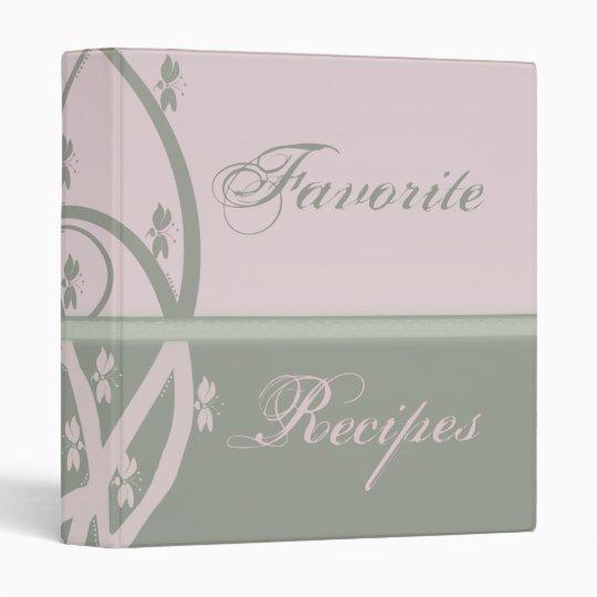 Pearl Pink and Peridot Vine Recipe Book 3 Ring Binder