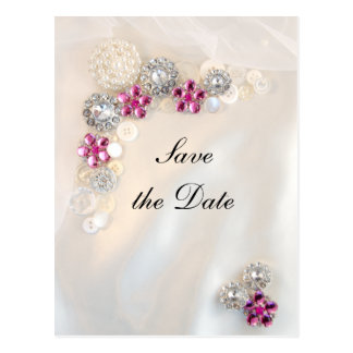 Pearl Pink Diamond Buttons Wedding Save the Date Postcard