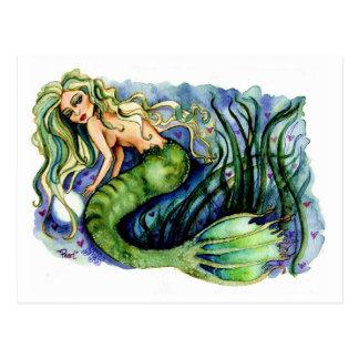 Pearl Pretty Green Mermaid Postcard