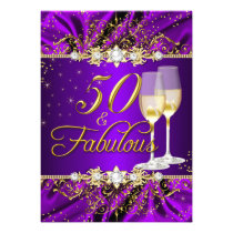 Pearl & Purple Gold Swirl 50 & Fabulous Invitation Card