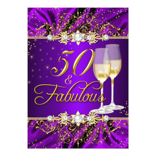 pearl  u0026 purple gold swirl 50  u0026 fabulous invitation card