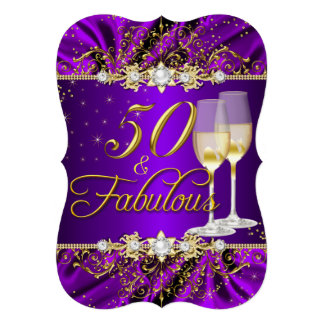 Pearl & Purple Gold Swirl 50 & Fabulous Invite