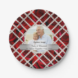 Pearl Red Roses Silver Wedding Anniversary Paper Plate