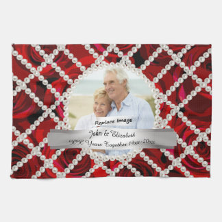 Pearl Red Roses Silver Wedding Anniversary Towel