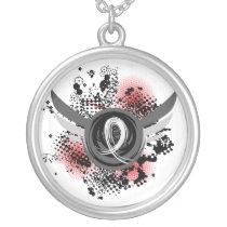 Pearl Ribbon And Wings Lung Cancer Silver Plated Necklace