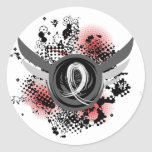 Pearl Ribbon And Wings Mesothelioma Classic Round Sticker