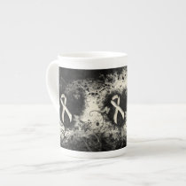 Pearl Ribbon Grunge Heart Tea Cup